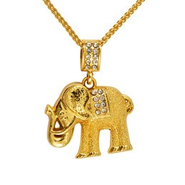 Wholesale Long White Elephant Necklace - Lucky 18k Gold Plated Elephant Necklace Hip Hop Style Rhinestone Crystal Animal Pendant &Necklace Long Chains Gift For Women