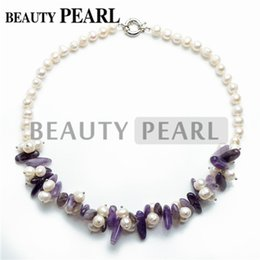 Wholesale Handmade Beaded Necklaces For Women - 8-9mm Potato White Freshwater Pearls Amethyst Chips Beaded Necklace Chunky 18 Iinch Handmade Jewelry for Women