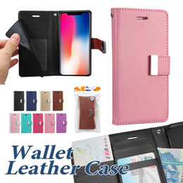 Wholesale Iphone Leather Case Blue - Wallet Case For Iphone X 8 8Plus PU Leather Cases With Card Slot Side Pocket Cellphone Case For Samsung S9 Plus OPP Bag
