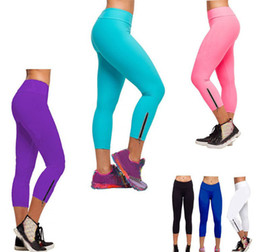 Wholesale High Leggings - Free shipping HOT New arrival Women Comfy Tights Capri solid A Running Pants High Waist Cropped Fitness Leggings S-XL