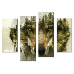 2019 marcos digitales rosa 4 Paneles Combinación Pintura Moderna Arte de La Pared La Imagen Para la Decoración Casera Lobo Pinos Bosques Agua Animal Imprimir Sobre Lienzo