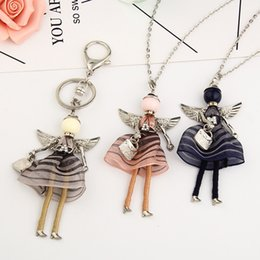 Wholesale Halloween Keychains - 3 Colors Lovely France Dance Doll Necklace Pendant Angel Wings Pendant New Fashion KeyChains Jewelry For Women Girl Styles Accessories Gifts