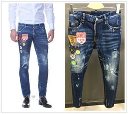 Wholesale Men Fashion Jeans Trousers - 2017 High quality fashion New Style Brand DSQ Men's Denim Jean jacket Embroidery Tiger Pants Holes D2 Jeans Zipper Men Pants Trousers 28-36