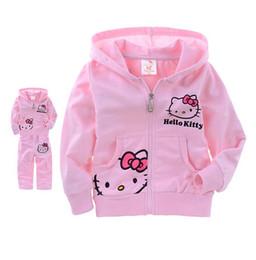 Wholesale Girls Velvet Tracksuits - Girls and boys sets kids tracksuits kids Cartoon KT cat coats and pant 2pcs sets size 2-6T 2016 autumn winter coats With velvet.