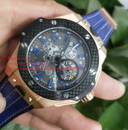 2019 orologi giapponesi oro ultima versione Alta qualità 44 millimetri movimento al quarzo giapponese cronografo Mens Watch Orologi cinturini in pelle blu oro rosa 18 carati orologi giapponesi oro economici