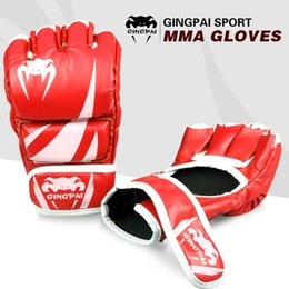 Wholesale Cheap Mma - Cheap 2016new PU leather adult male MMA gloves kick fighting glove professional muay thai boxing glove pro style grappling glove