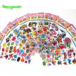 Wholesale Reward Stickers - Happyxuan 12 sheets Cute Kids Puffy Ocean Fish Stickers Scrapbook Cartoon Starfish Octopus Child Reward for School Teacher Toy