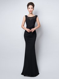 Wholesale Natural Bamboo Flooring - 2016 New Black Mermaid Formal Evening Dresses High Collar Beaded Floor Length Canonicals Fashion Sexy Beauty Prom Evening Dress Plus Size