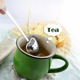 Wholesale Tea Strainer Spoon Wholesale - New Heart Shape Stainless Steel Tea Infuser Spoon Strainer Steeper Handle Shower c074