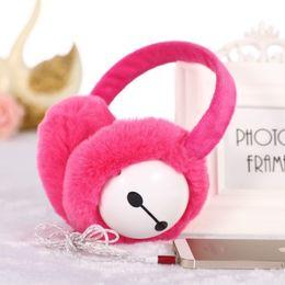 Oreillettes en Ligne-Chaud Chaud stllable Casque Peluche D'hiver Cache-oreilles Muff Ear Music Earphones 3.5mm Stéréo Sport En Plein Air Casque Ear Warmer Protector