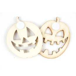 Wholesale Rustic Halloween Decorations - 150pcs set Unfinished Rustic Wooden Pumpkin Halloween decoration 30mm party supplies wood button stickers free shipping