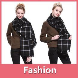 Wholesale Cashmere Poncho Black - Women Designer Scarves Blanket Scarf ZA RA Design Scarf Winter Fashion Check Pashmina Cashmere Neck Stole Shipping Free 161020