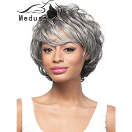 Wholesale Wig Gray Short - Free shipping Voluminous shag cut styles Synthetic pastel wigs for fashion women Short curly gray synthetic wig with bangs for black women