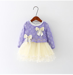 Wholesale Sweaters For Winter Kids - Girls Dress for Kids Lace Tutu Dresses Autumn Kids Bow Sweater+Dress 2 Pieces 3 Colors For 1~6 Year