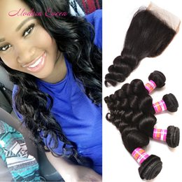 Wholesale Black Beauty Weave - 7a Mongolian Loose Curly Human Hair 4 Bundles With Lace Closure Modern Queen Mongolia Loose Wave Hair Extension Full Head For Black Beauty