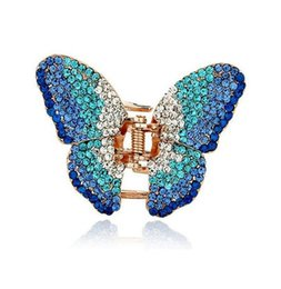 Wholesale Claw Clips For Hair - New Fashion Beautiful Hair Clip Hairpin Austrian Crystal Butterfly Hair Claw Hair Clips for women DHF747