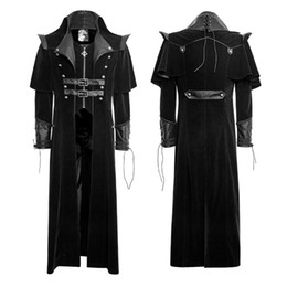 Wholesale Trench Coat 2xl Men - Gothic Cool Long Cloak Coat Punk Style Rivet Spring Trench Coats Polyester Material Cheap Mens Trench Coats Y636
