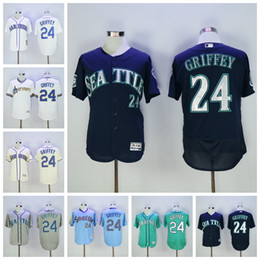 Wholesale Griffey S - Best Quality 24 Ken Griffey Jr Jersey 2017 Hall Of Fame Patch Seattle Mariners Baseball Jerseys White Grey Beige Green Cream Blue Pullober