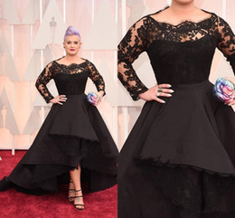 Wholesale Empire Ruffled Ball Gown - High Low Plus Size Formal Dresses Sheer Lace Bateau Long Sleeve Oscar Kelly Osbourne Evening Gowns Black Ball Mother Of The Bride 2016