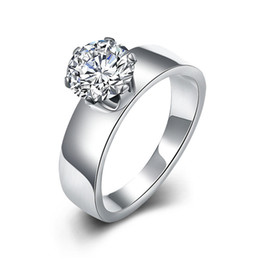 Wholesale Wholesale Fashion Stainless Steel Rings - Hot 316L stainless steel wedding ring with CZ diamond fashion jewelry for women top quality factory cheap wholesale free shipping