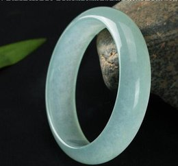Wholesale Light Jade Bangle - 56-60mm 100% Grade A Jade Light Green Bracelets Gems Stone Lucky Free Shipping China Gift High Quality