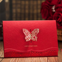Wholesale Butterfly Wedding Cards Design - Wholesale- 3D Butterfly Design Red Wedding invitation Card,Red Invitaion with Laser Cut, Professional design and print Invitation Cards