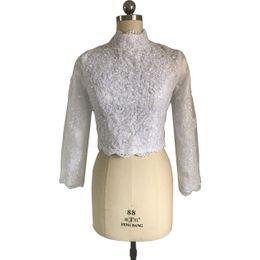 Wholesale Sequin Shrugs - Muslim Wedding Boleros with Lining Jackets High Neck Ivory White Long Sleeve Lace Beaded Bridal Jacket Shrug 2017 Elegant Wrap