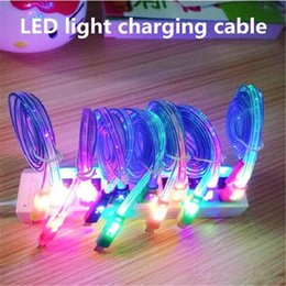 Wholesale Smiley Flat Micro Usb - Visible Micro USB V8 Charger Cable Colorful LED Light Smiley Flashing 1M 3FT Noodle Flat Charging Cords Samsung s7 s6 s5 I5 I6