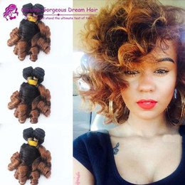 Wholesale Malaysian Hair Spring Curl - Two tone Spring Curl Funmi Human Hair Extensions Aunty Funmi Hair Bundles Human Hair Weave Bundles Bouncy Romance Curls Ombre Color