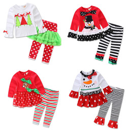 Wholesale Kids Christmas Outfits Cheap - Faster shipping Cheap price New Kids Girls 2 Pieces Christmas Santa Long Sleeve Shirt Pants Outfit Set