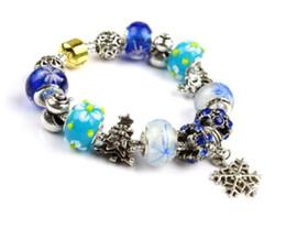 Wholesale Pandora Blue Green Murano - Blue 2017 Pandora Style Charm bracelets Fashion S 925 Murano Glass & Crystal European Charm Beads Fits Charm bracelets Bangles DIY Jewelry