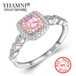 Wholesale Gem Stones Rings - YHAMNI Original Fine Jewelry Real 925 Sterling Silver Rings Set Pink Gem Stone CZ Diamond Luxury Wedding Rings for Women Gift JZ201