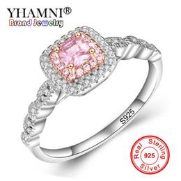 Wholesale Pink Gem Stones - YHAMNI Original Fine Jewelry Real 925 Sterling Silver Rings Set Pink Gem Stone CZ Diamond Luxury Wedding Rings for Women Gift JZ201