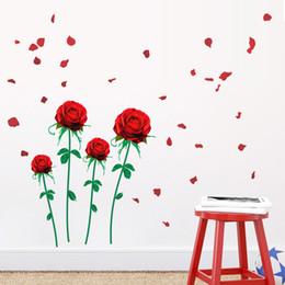 Wholesale Red Kids Wall Room - Red Rose Flower Wall Sticker Mural Decal Living Room Bedroom Home Room Art Decor DIY Romantic Wedding Room Decoration