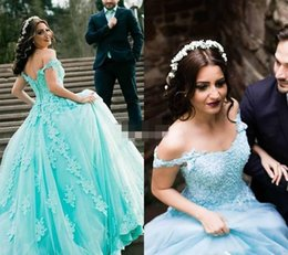 Wholesale Girls Pageant Dresses Mint - 2017 Mint Saudi Africa Quinceanera Dress Princess Puffy Lace Applique Sweet 16 Ages Long Girls Prom Party Pageant Gown Plus Size Custom Made