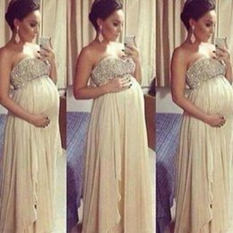 Wholesale Pregnant Evening Wear - Pregnant empire sweetheart beaded A line floor length arabic evening dresses guest evening wear prom dress gowns formal cocktail party