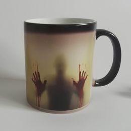 Wholesale Black Zombie - Drop shipping walking dead Zombie Coffee Mug cup Heat sensitive Magic Morphing Color Changing Tea Mug Transformation