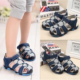 Wholesale Boys Sandals 11 12 - New Style 2016 boys antislip sole sandals Summer cut-out comfortable flats leather sandals kids Children breathable shoes