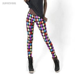 fc39d5ff08cd Wholesale- Leggings Rainbow Color Spandex Fashion Rhombus Printed New Lady Women  Sexy Stretch Skinny Pants Slim Trousers Black Joggings Hot