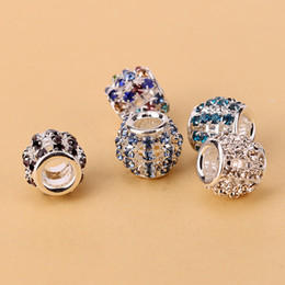 Wholesale Colorful Round Wholesale Beads - Fashion Round Circle With Colorful Crystal Charm Pandora European Charms Bead Fit Pandora Snake Chain Bracelets DIY Jewelry