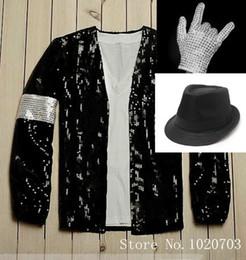 traje completo de miku hatsune Rebajas Al por mayor-Michael Jackson venció chaqueta chaqueta Cosplay + guantes + sombrero en stock