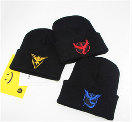 Wholesale Woven Winter Beanies Wholesale - Poke Go winter warm weave Beanie cap pocket Monster team valor mystic instinct logo Knit Hats Adult hat Caps Poke ball Beanies Hip Hop best