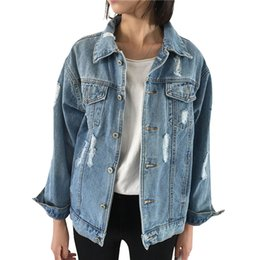 Wholesale jeans jacket cool - Wholesale- New Arrived Women Cool Long Sleeve Solid Color Jeans Jacket Casual Hole Coat