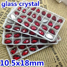Wholesale Rhinestone Sew Hole - Wholesale-140pcs box 10.5x18mm Teardrop Sew on stone Siam red color Flatback 2 holes Pear drop sewing crystal rhinestones for dress making