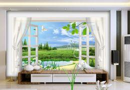 Wholesale 3d Scenery Photo - Wholesale- Custom photo wallpaper 3D stereoscopic window scenery 3d wallpaper living room Home Decoration