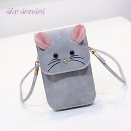 Wholesale Mouse Cross - Wholesale- 2016 women handbag casual purse small mouse phone package mini shoulder messenger bag cute cartoon bag pu leather bolsa XD3177