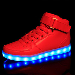 Wholesale Girls Denim Shoes - Led Shoes Woman USB Light Up Unisex Sneakers Lovers For Adults Girls Casual Students Sports Glow With Fashion High Top Luminous Board Shoe