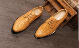 Wholesale Simple Flat Wedding Shoes - mens business shoes round toe 3 color crocodile style pu leather simple pure elegant men dress shoes size:6.5-9