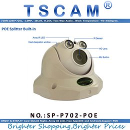 Wholesale Ir Night Vision Dome Camera - TSCAM new SP-P702-POE ONVIF HD 720P 1.0MP Dome IP Camera with POE Micro SD Slot Array IR Night Vision Project Quality