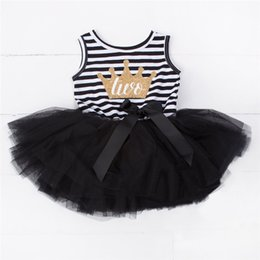 Wholesale Cute Casual Dresses For Kids - Wholesale- Mini Baby Girls Dress For Newborn Baby First Birthday Party Dress Cute Stripe Casual Tutu Kids Girls Clothes For Infant 2 Years